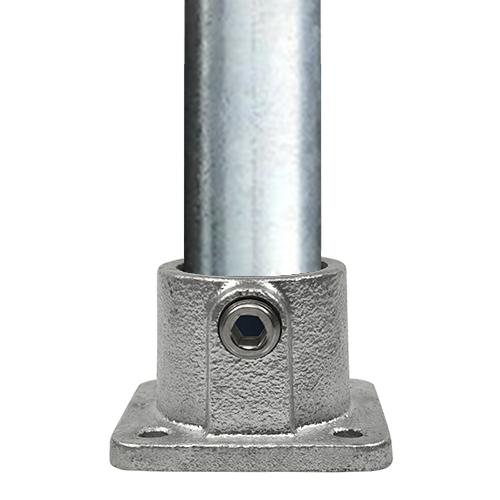 Buiskoppeling Vierkante voetplaat met doorloop-E / 48,3 mm