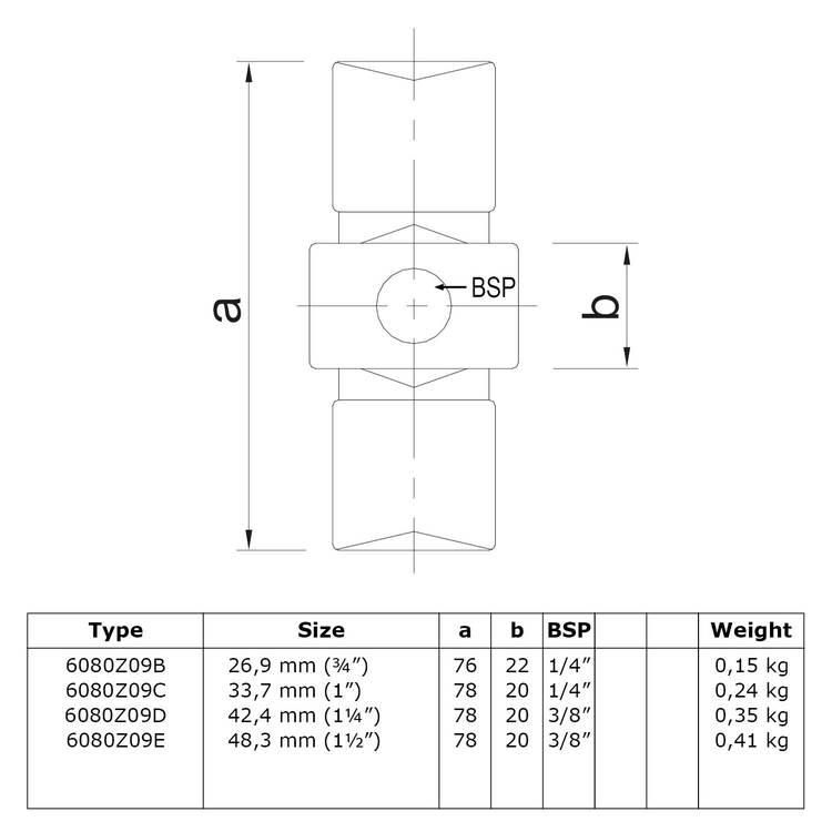 Inwendig koppelstuk - zwart-C / 33,7 mm