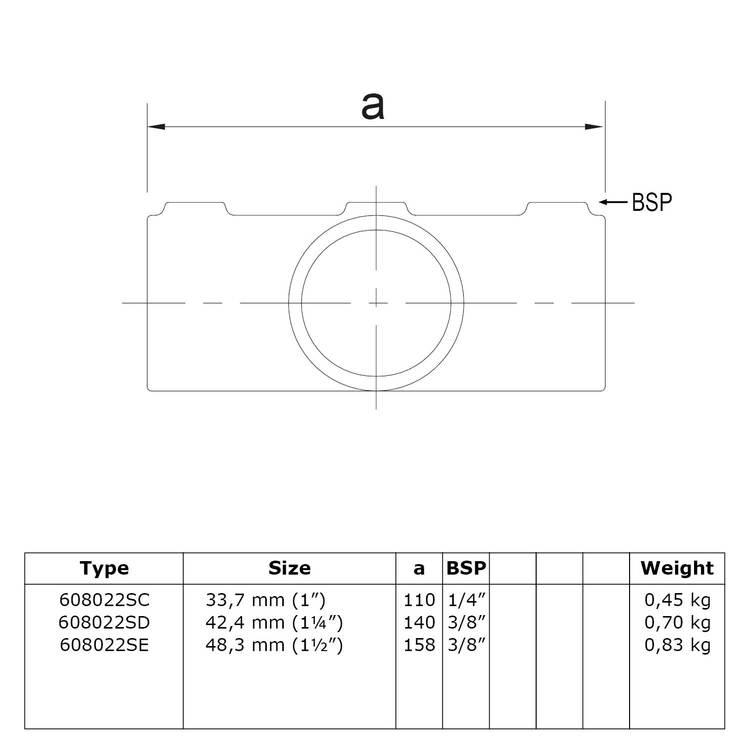 Doos Kruisstuk in 1 vlak voor helling 0° - 11°-C / 33,7 mm