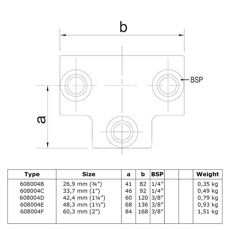 Doos Lang T-stuk-C / 33,7 mm