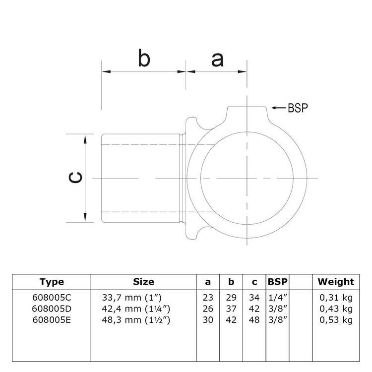 Doos Intern draaibaar T-stuk-E / 48,3 mm