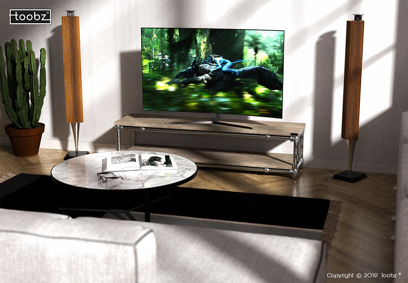 TV meubel Nottingham: M / 33,7mm / zilverkleurig / oud gemaakt hout