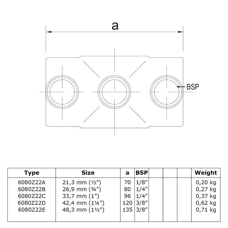 Doos Kruisstuk in 1 vlak - zwart-D / 42,4 mm
