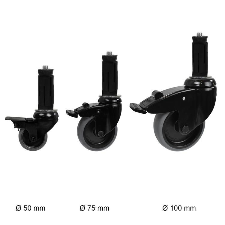 Zwenkwiel (zwart) met rem en expander - 100mm diameter