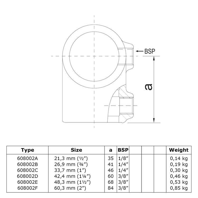 Doos Kort T-stuk-D / 42,4 mm