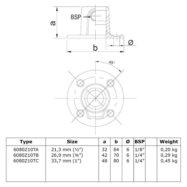Buiskoppeling Ronde voetplaat met doorloop - zwart-B / 26,9 mm