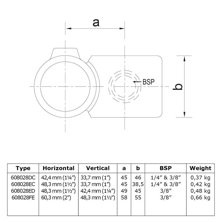 Doos Kruisstuk 90° - verloop-ED / 48,3 mm en 42,4 mm