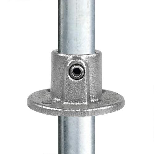 Buiskoppeling Ronde voetplaat met doorloop-C / 33,7 mm