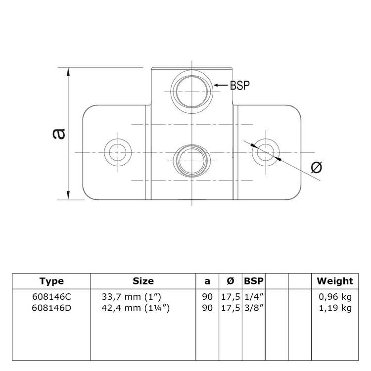 Doos Buiskoppeling Extra zware boeiboordbevestiging horizontaal-D / 42,4 mm