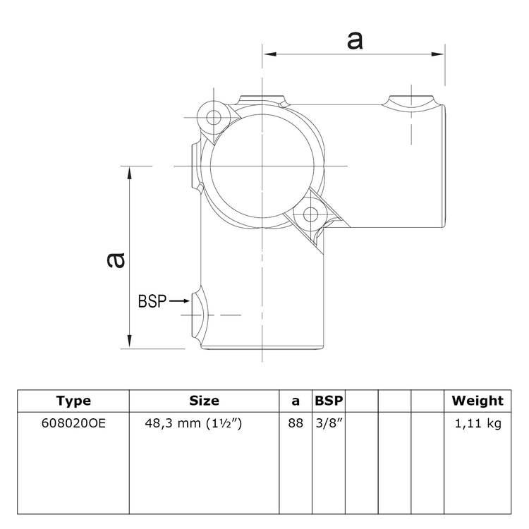 Doos Open klapbaar hoekstuk doorlopende staander 90°-E / 48,3 mm