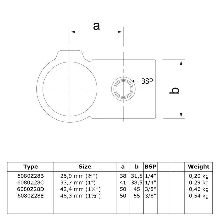 Doos Kruisstuk 90° - zwart-E / 48,3 mm