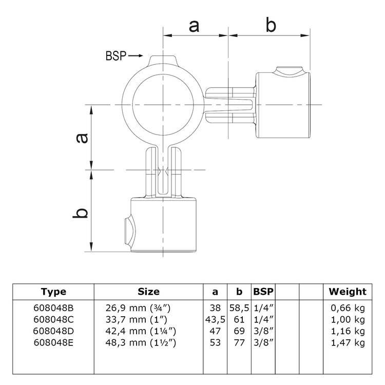 Buiskoppeling Dubbel scharnierstuk 90°-E / 48,3 mm