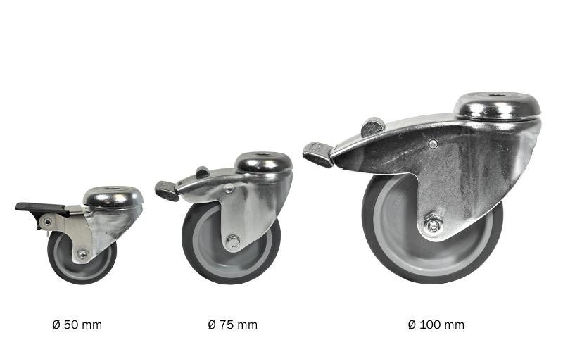 Zwenkwiel met rem en expander - 100mm diameter-C / 33,7 mm