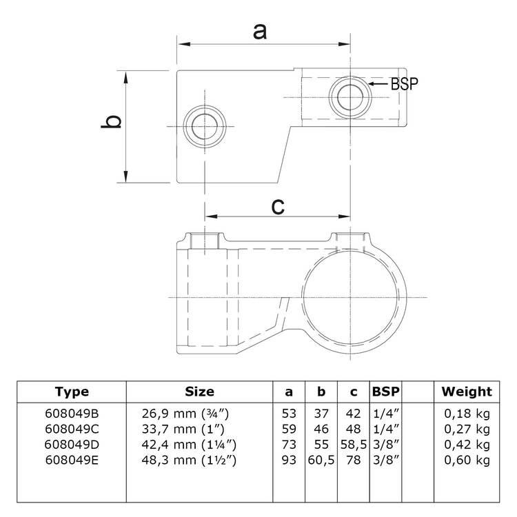 Doos Verstelbaar hoekstuk (per stuk)-E / 48,3 mm