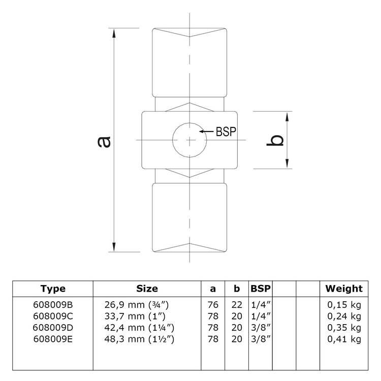 Doos Inwendig koppelstuk-C / 33,7 mm