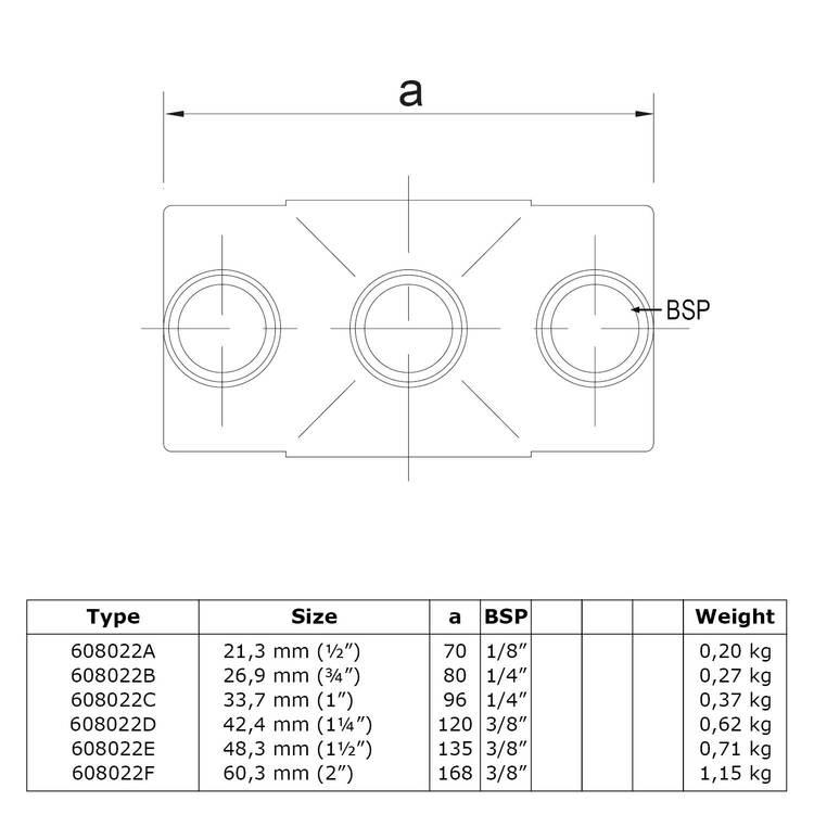 Buiskoppeling Kruisstuk in 1 vlak-D / 42,4 mm