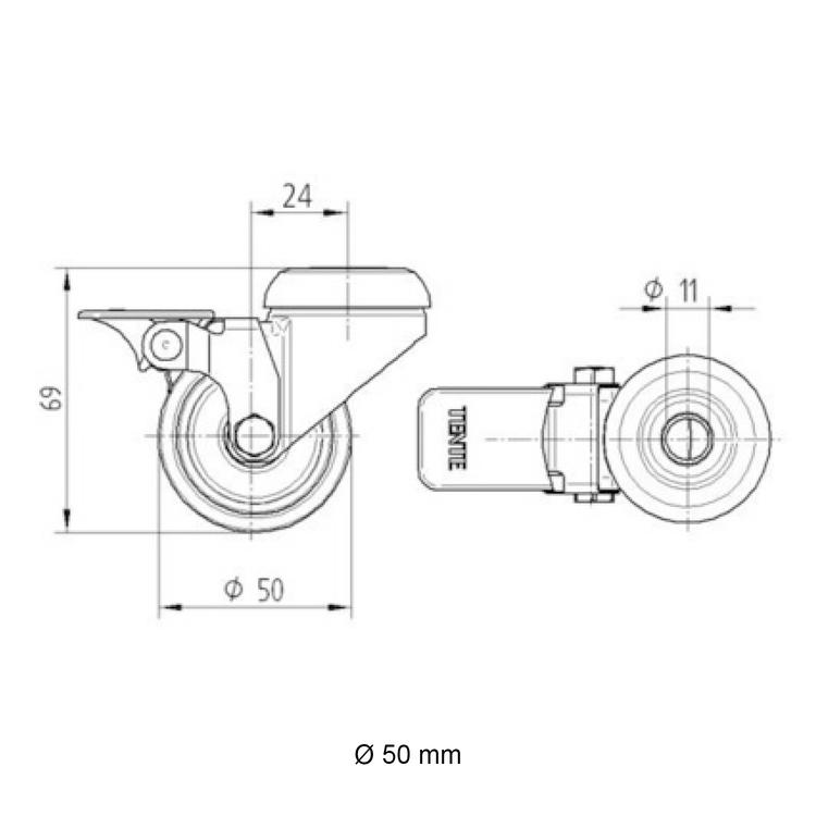 Zwenkwiel (zwart) met rem en expander - 50mm diameter