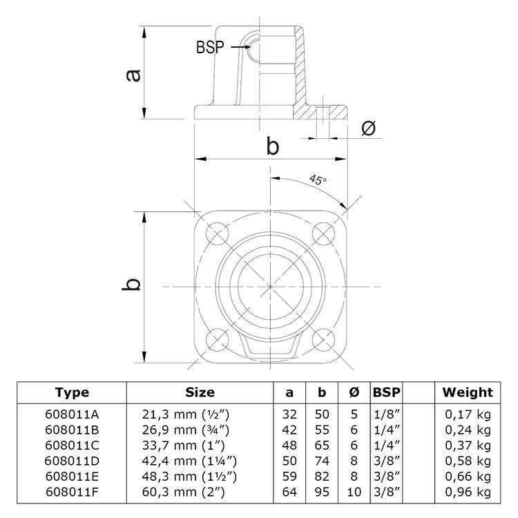 Buiskoppeling Vierkante voetplaat met doorloop-F / 60,3 mm