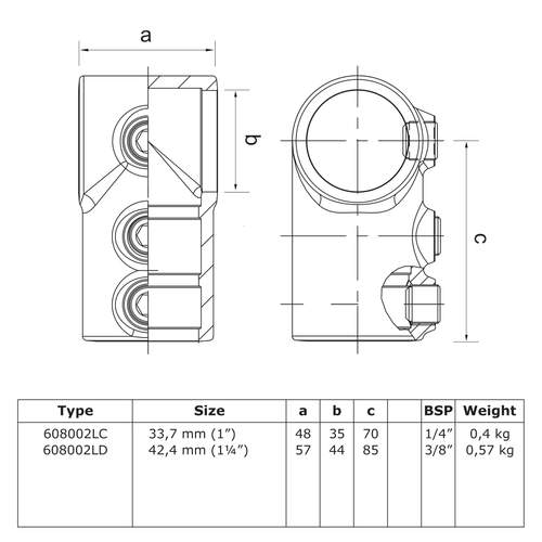Kort t-stuk  - lang-C / 33,7 mm