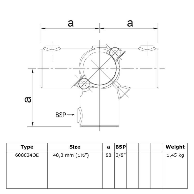 Buiskoppeling Open klapbaar T-Stuk met zij-uitgang