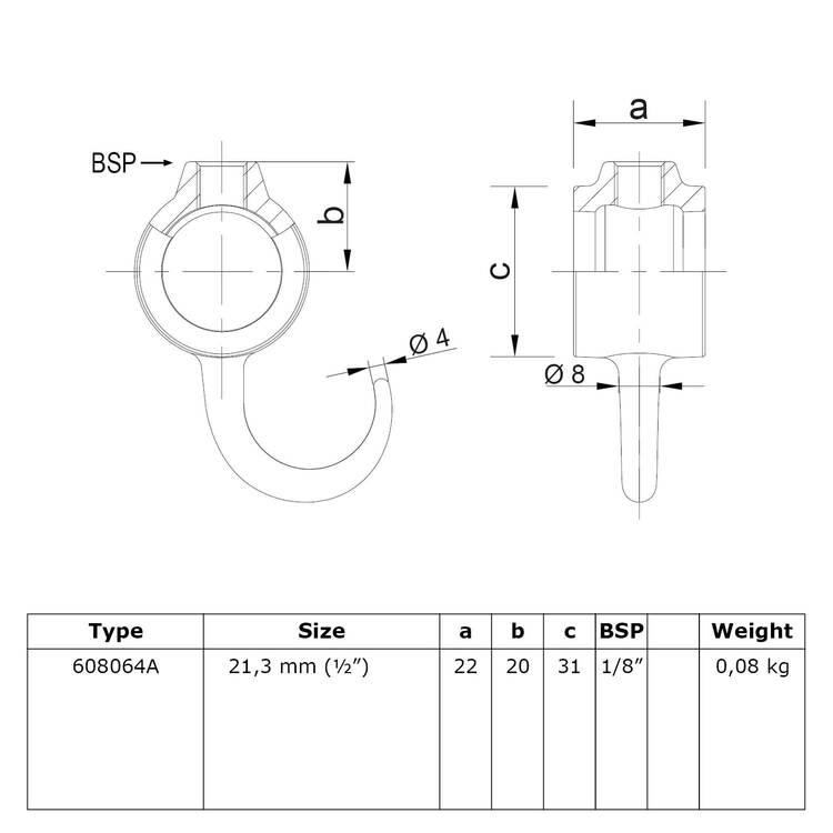 Buiskoppeling Kapstokhaak-A / 21,3 mm