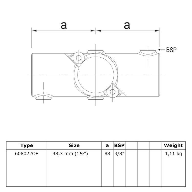 Buiskoppeling Open klapbaar kruisstuk in 1 vlak-E / 48,3 mm