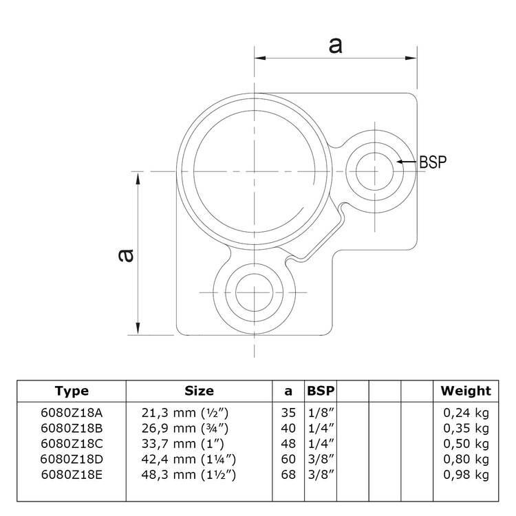 Drieweg kniestuk 90° - zwart-B / 26,9 mm