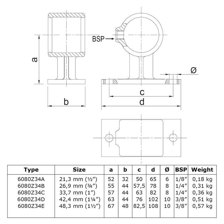 Leuningdrager - zwart-B / 26,9 mm