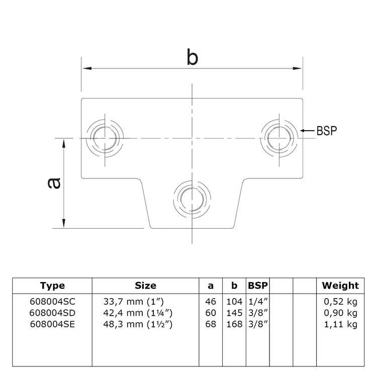 Doos Lang T-stuk - variabele hoek 0°-11°-C / 33,7 mm