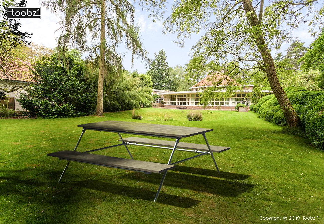 Picknick Tafel Edinburgh: 42,4mm / zilverkleurig / oud gemaakt hout