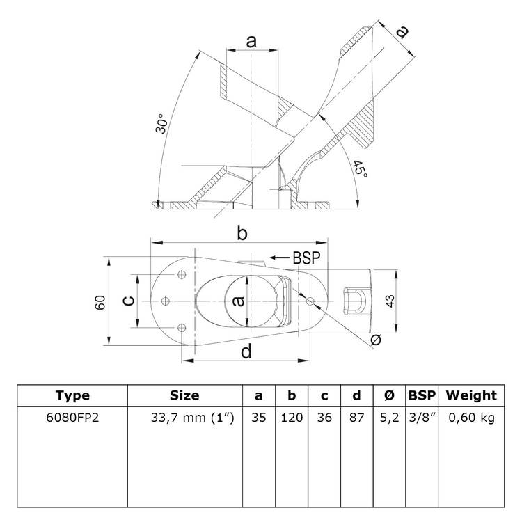 Doos Vlaggenstok koppeling variabel-C / 33,7 mm