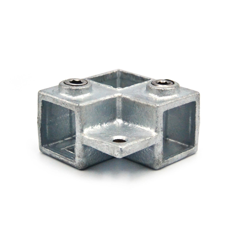 Buiskoppeling Hoekstuk doorlopende staander met lip - vierkant-25 mm
