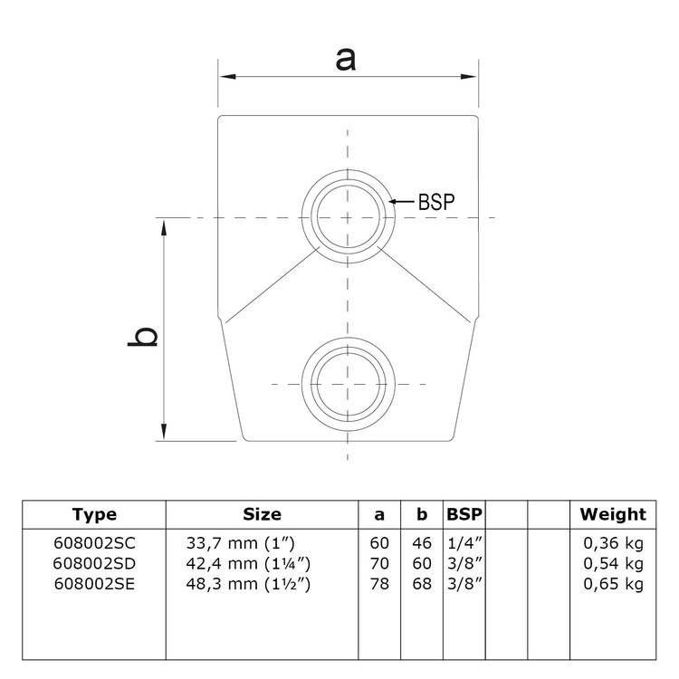 Buiskoppeling Kort T-stuk - variabele hoek 0° - 11°-E / 48,3 mm