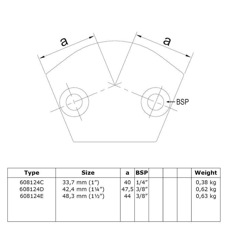 Buiskoppeling Variabel kniestuk 15° - 60°-E / 48,3 mm
